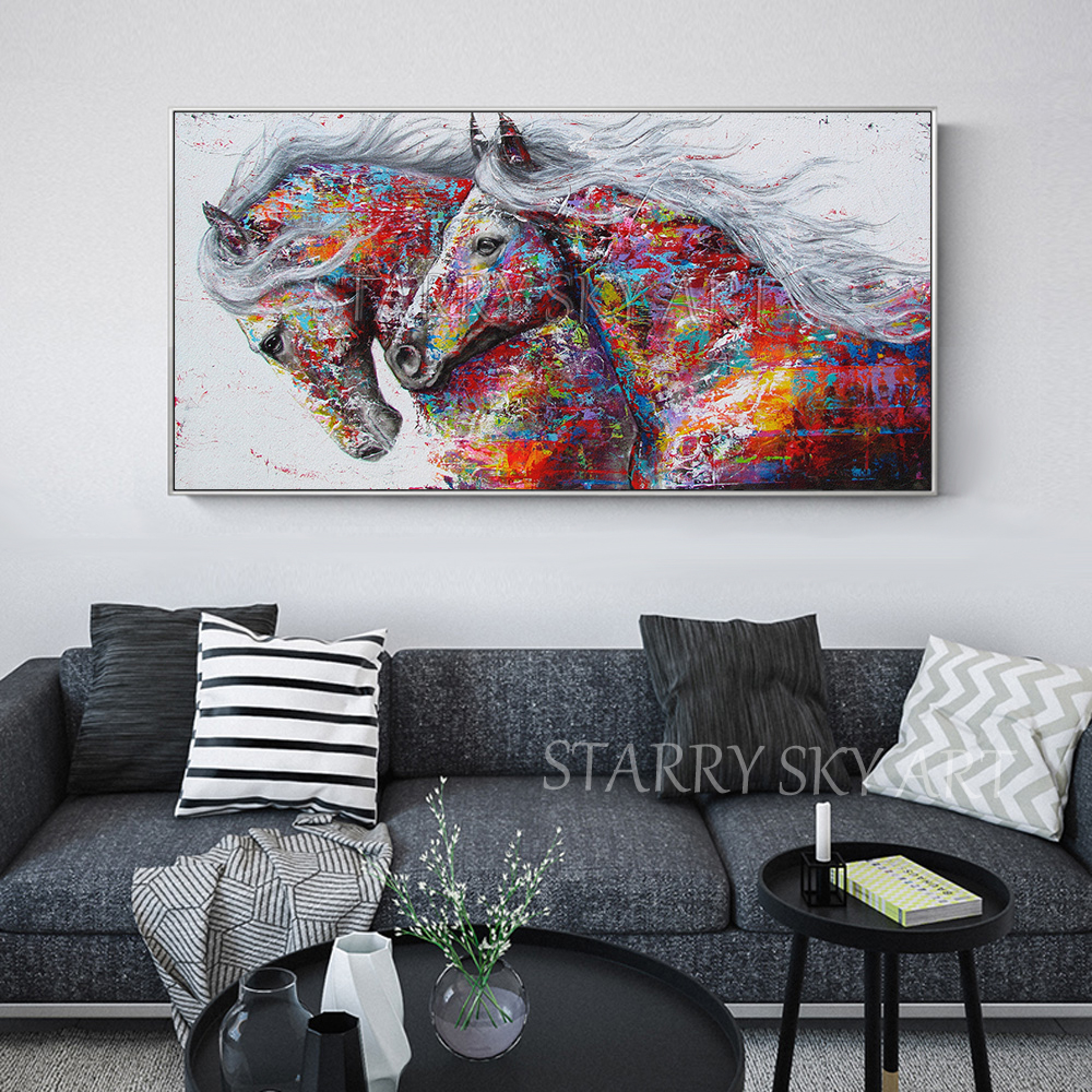 Diseño de Moda pintado a mano 2 caballos pintura al óleo en lienzo colores ricos abstracto Animal caballo pintura al óleo para la pared decoración - 4