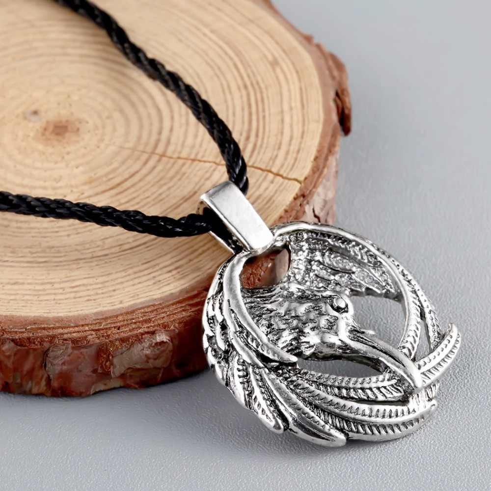 2019 Norse Raven pudełko na naszyjnik-Odin Viking wisiorek kruk Runes młot thora Mjolnir talizman Vintage Eagle mężczyźni naszyjnik kobiety