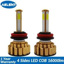 Aslent 4 sides Lumens H4 H7 H11 H8 9005 HB4 HB5 9006 COB Car LED Headlight kit Bulbs 80W 16000LM 6000K Auto Headlamp Light 12v