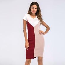 VZFF 2019 Summer Dress Temperament Commuter Color Matching Irregular Knit Bag Hip Casual