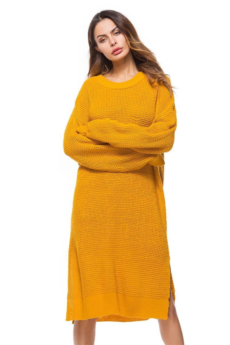 Fall Winter Vintage Mustard Side Slit Crochet Sweater Dress for Women Cute Ladies Retro Cosy Loose Split Pullover One Size 22