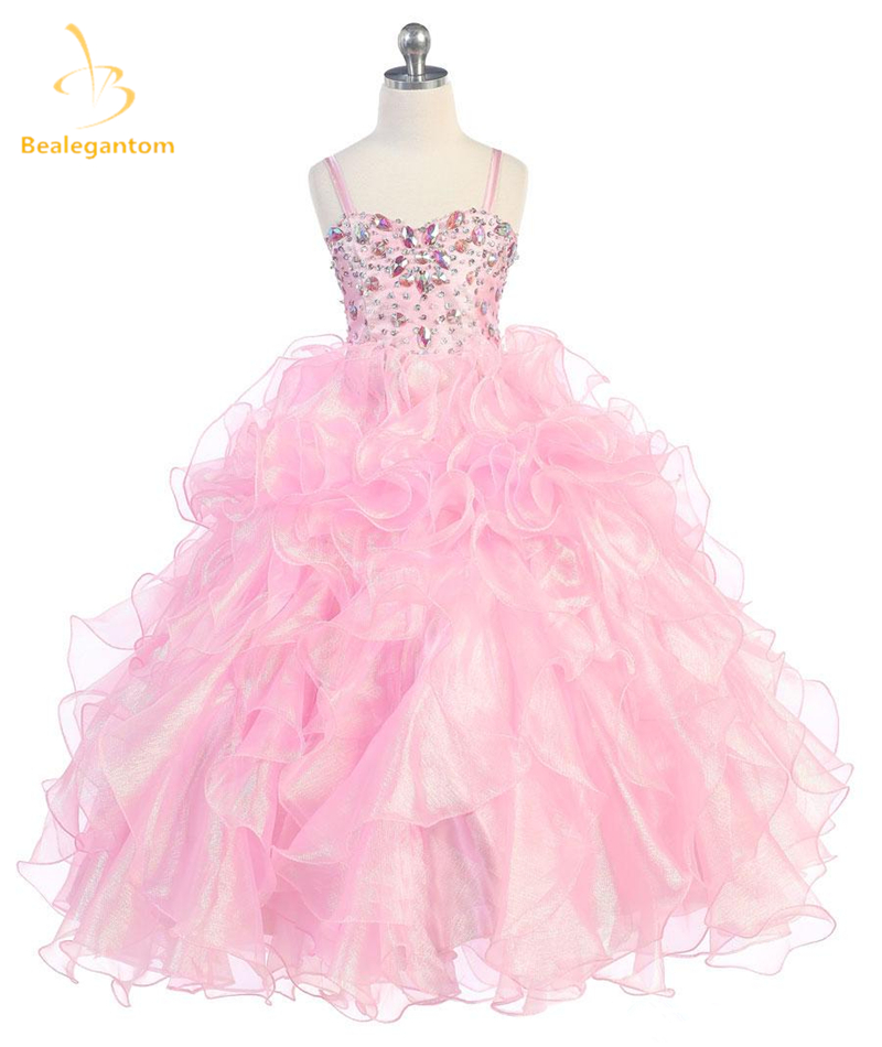 Bealegantom New Crystal Ball Gown   Flower     Girl     Dresses   2017 with Beading Sequined   Girls   Pageant Gown First Communion   Dresses   FD19
