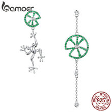 BAMOER Authentic 925 Sterling Silver Jumping Frog Green Zircon Drop Earrings for Women Long Chain Animal Earrings Jewelry BSE027