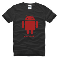Funny Spoof Android Robot Printed Mens Men T Shirt T Shirt 2016 New Short Sleeve O