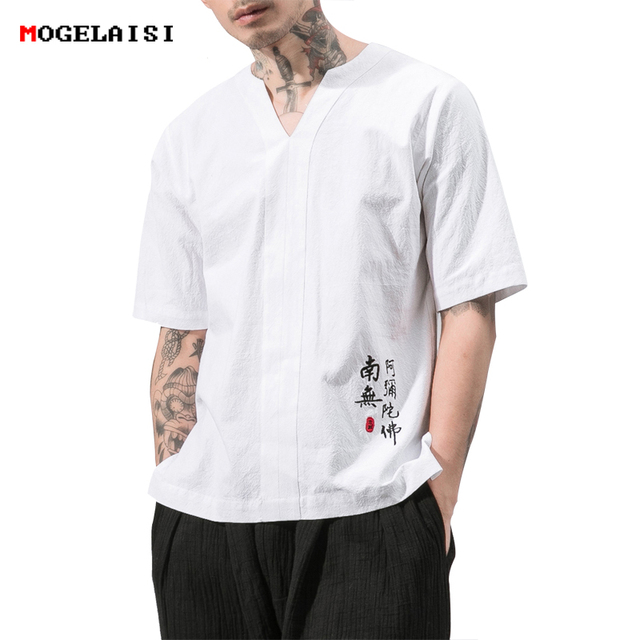 e6a2981bfc0 New Chinese style white shirt men summer linen cotton embroidery short-sleeve  tops male plus size loose shirts camisa masculina