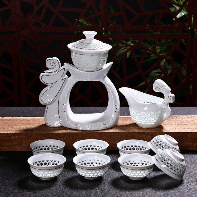 Nouveau ensemble de thé en porcelaine Dehua Kung Fu tasses automatiques en céramique blanche creuse transparente bleu et blanc Gaiwan ensemble de tasse à thé