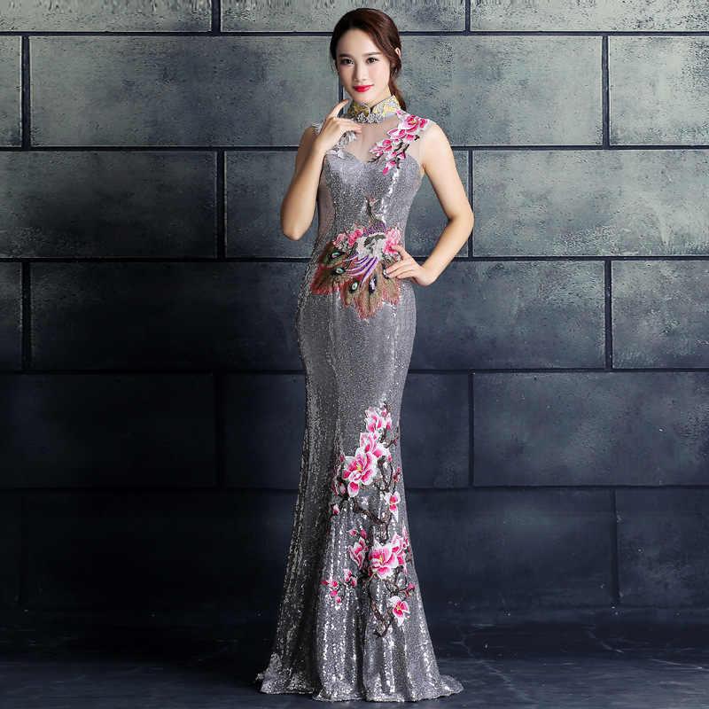 Bordados Cheongsam Longo Qipao Oriental Chinesa Vestido de Noite Elegantes Vestidos de Princesa Vermelho Casamento Do Verão Mulheres Sexy Flores