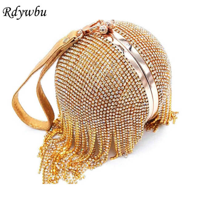 placeholder Rdywbu Women Wedding Bride Crossbody Clutches Round Ball Wrist Bag  Clutch Diamond Tassel Evening Bag Purses 169fade05017