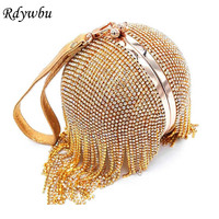 Rdywbu Women Wedding Bride Crossbody Clutches Round Ball Wrist Bag Clutch Diamond Tassel Evening Bag Purses Banquet Handbag H33