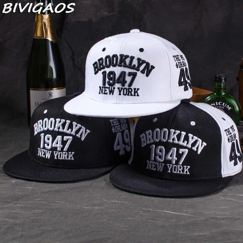 831c4899f84 New Fashion Men s Snapbacks Baseball Caps Black White 1947 BROOKLYN Letters  Embroidery Hip Hop Caps Sun