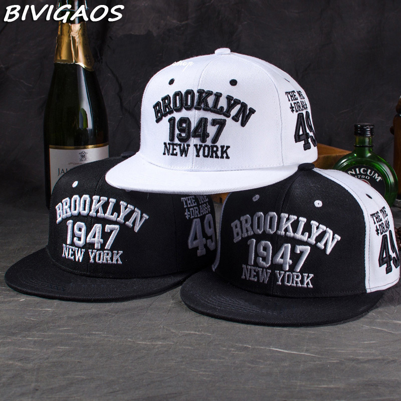 New Fashion Men's Snapbacks   Baseball     Caps   Black White 1947 BROOKLYN Letters Embroidery Hip Hop   Caps   Sun Hats Bones For Men Women