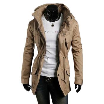 New Winter Men'S Jacket Army Trench Coat Warm Outwear Parka Pocket Army Green High Quality Jacket Slim Big Size Long Zipper army green loose fit hooded outwear