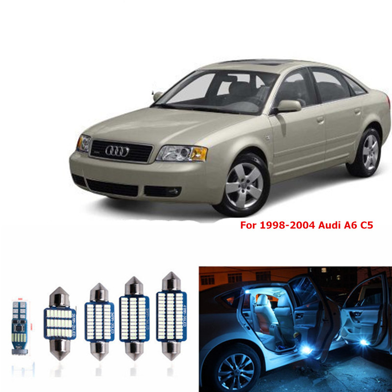 1 set Canbus Car White LED Light Bulbs Interior Package Kit For 1998-2004 Audi A6 C5 Map Dome Glove Box License Plate Lamp blue 13pcs canbus car led light bulbs interior package kit for 2006 2010 jeep commander map dome trunk license plate lamp white