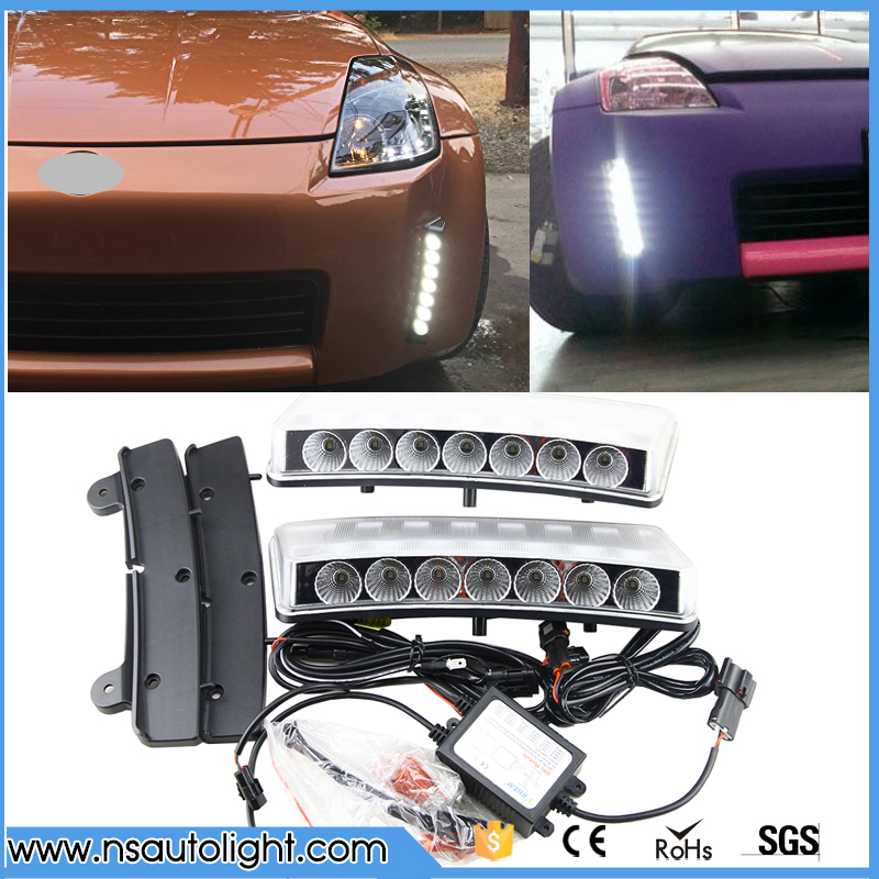 car styling Clear Lens Direct Fit Xenon White Front Bumper Reflector LED Daytime Running Lights For 2003-2005 Nissan 350Z direct fit for nissan 350z pre lci led daytime running lights 7 led xenon white drl driving fog lamps daylights car styling