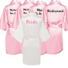 Owiter new bride bridesmaid robe  black letters mother sister of the wedding gift bathrobe kimono satin robes