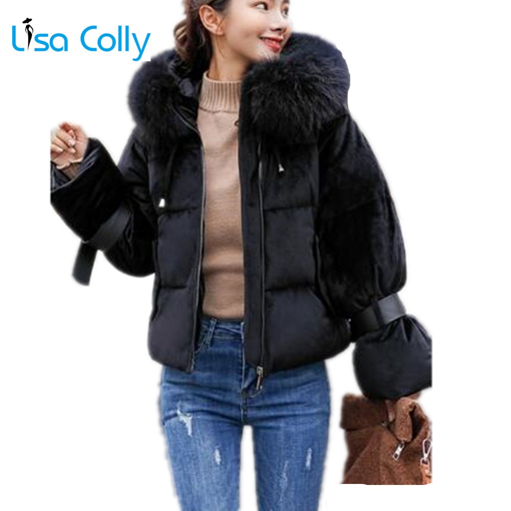 Lisa Colly Women Winter Jacket Coat New Faux Fur collar Cotton Coat Overcoat With Hooded Warm Woman   Parka   Outerwear Down Jacket