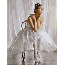DIY PBN Ballet Dancing Girl Arcylic Painting By Numbers On Canvas Framed Wall Pictures Art For Living Room Home Decoration(China)