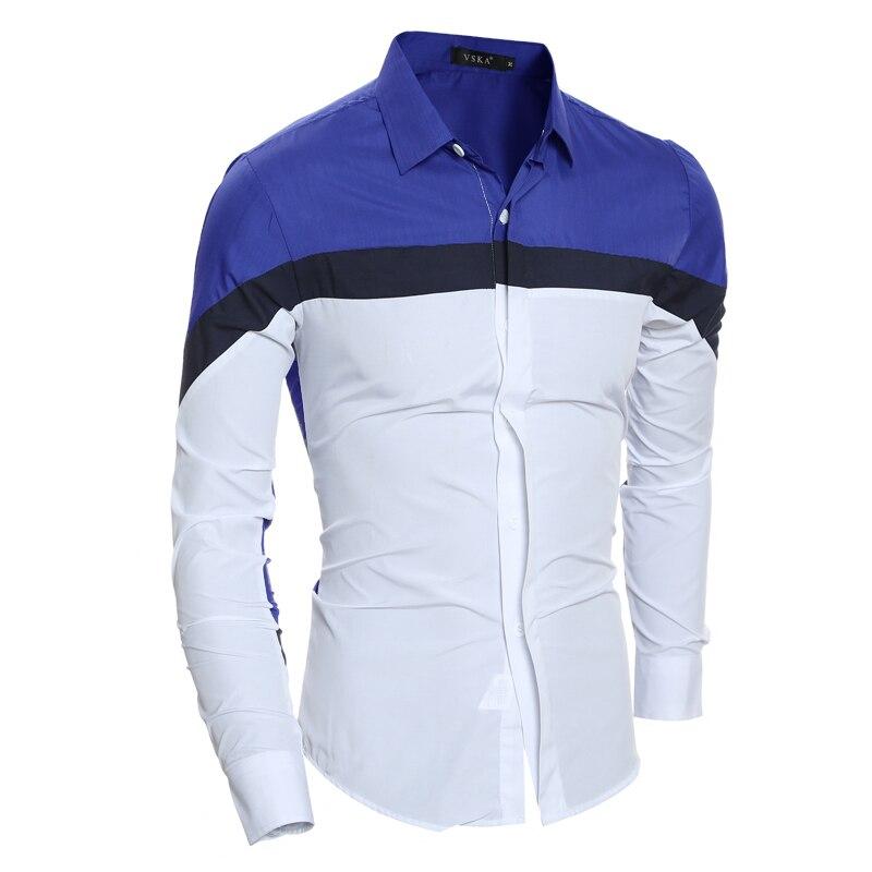 2018 Men's Brand Dress shirt Mens Polka Splice Shirt Slim Fit Male Shirts Long Sleeve Heren Hemden Casual Mens shirt XXL GSAAS