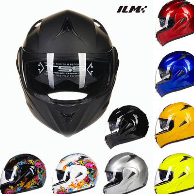 DOT Approved Motorcycle Helmet with Inner Sun Visor Safety Flip Up Double Lens Dual Visor Racing Motocross Quad ILM Helmet Black for top gear the stig helmet with silver visor tg collectable like simpson pig yellow motorcycle helmet you re the stig