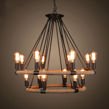 Loft chandeliers Kitchen Bar Restaurant Salon wrought iron chandelier Black Color vintage rope rustic Rattan pendant lamp