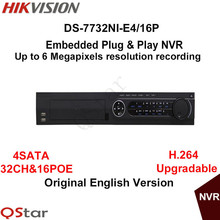 Hikvison Original English Version DS-7732NI-E4/16P Embedded Plug & Play NVR 32CH 16 PoE 4SATA interfaces 6MP