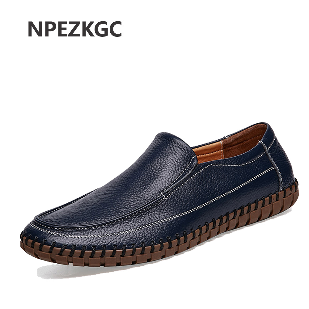 NPEZKGC Brand Best Quality Genuine Leather Men Flats Casual Shoes Soft Loafers Comfortable Driving Shoes Men Breathable Shoes xizi quality genuine leather men loafers 2017 designer soft breathable casual mens leather suede flats boat shoes