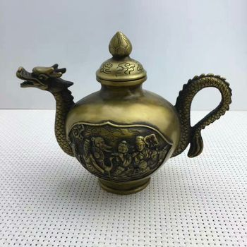 chinese fengshui bronze gilt dragon 8 Immortal god statue Wine Tea Pot Flagon