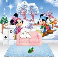 Custom Wall Mural Photo Wallpaper Mickey Minnie Cartoon World Large Size Wall Art Bedroom Hallway Childrens