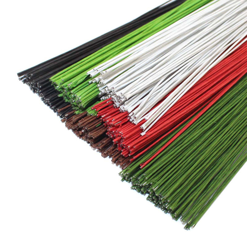 CCINEE 100PCS #28 Paper Covered Wire 0.35mm/0.0137Inch Diameter 40cm Long Iron Wire Used For DIY Nylon Stocking Flower Making