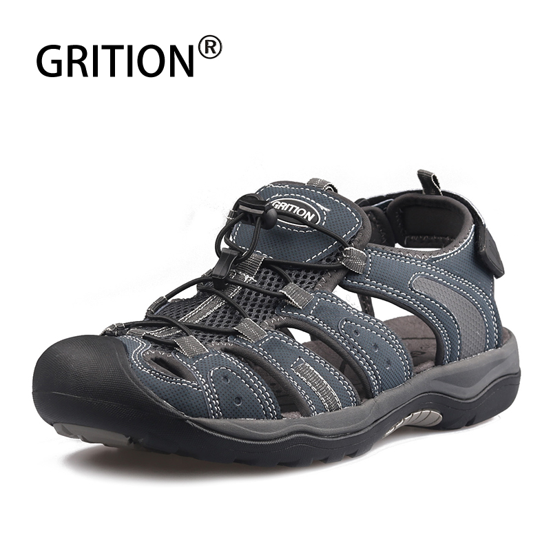 GRITION Men Sandals Platform Outdoor Summer Leather Comfy Breathable Beach Shoes Lazy Walking Sport handmake Big