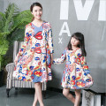 mother daughter dresses matching mother daughter clothes fashion folk character V-neck dress mother daughter outfits family look
