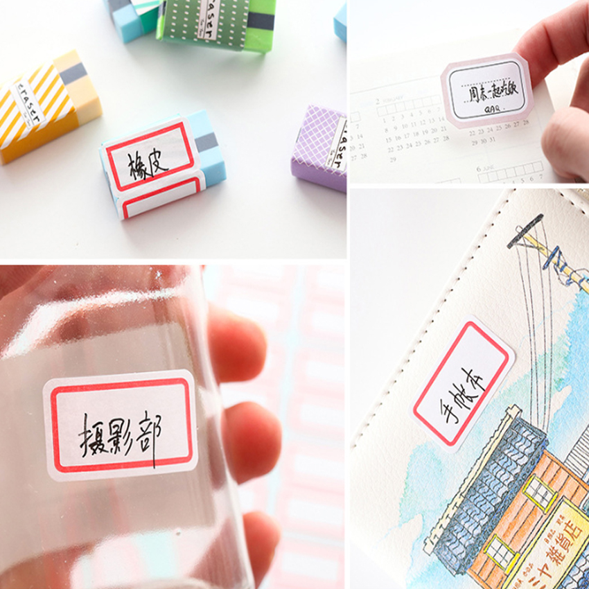 Купить с кэшбэком 1pack/lot Self-adhesive Paper Sticker Blank Name Sticker Labels Memo Stickers Set Stationery Reminder Bookmark Seal Label