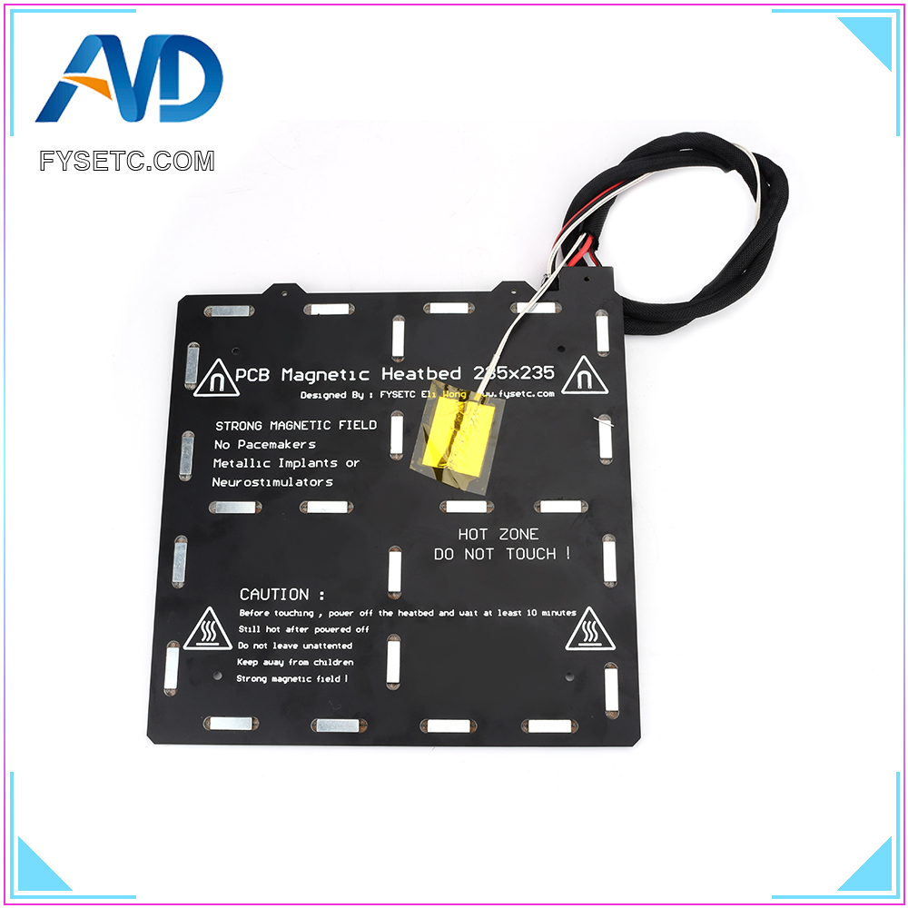 3D piezas de la impresora 235x235mm magnética Heatbed 24 V 3mm de espesor de cableado Kit de termistores con imán para creality ENDER-3/3 s etiqueta Flash