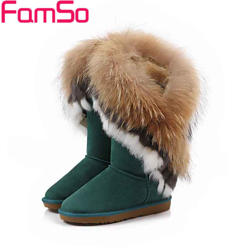 ФОТО Plus Size34-43 2017 New Sexy Women Real Fur boots Designer Autumn Half Genuine Leather Boots Winter Warm Snow Boots SBT3054