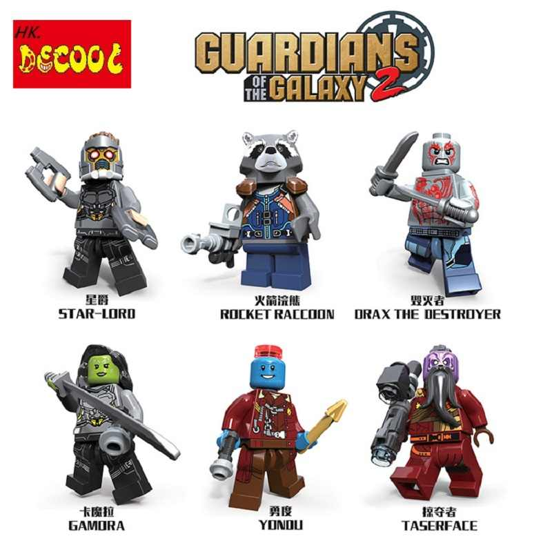 Decool 6 cái/lốc cho minifigure Người Giám Hộ của các Galaxy 2 Yondu Sao-The Lord Of The Rocket marvel star wars Blocks gạch phù hợp cho Lego LPS