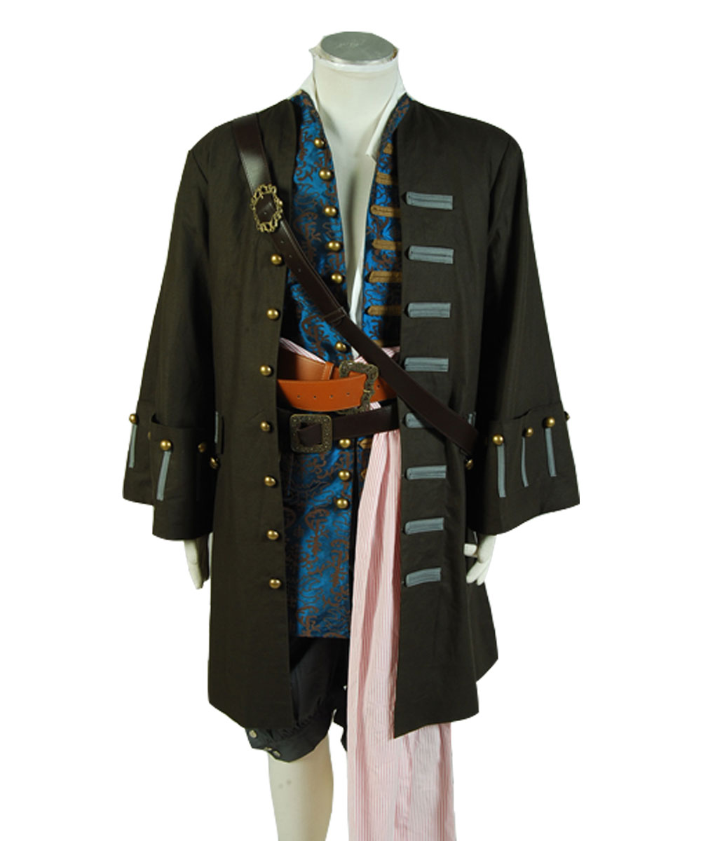 HOT Movie Pirates of the Caribbean Captain Jack Sparrow Jacket Vest Pants Outfit Cosplay Costume