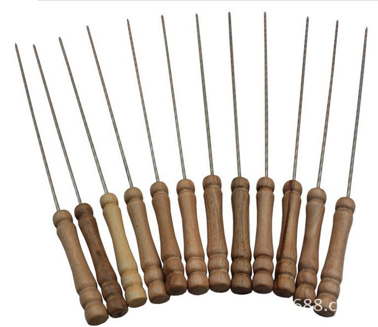10Pcs/lot BBQ Forks Camping Campfire Stainless Steel Wooden Handle Telescoping Barbecue Roasting Fork Sticks Skewers BBQ OK 0588