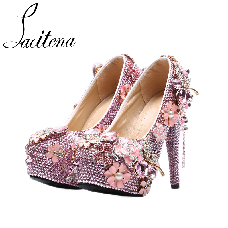Pink High Heels For Wedding: Luxury Pink Colored Crystal Flower Shoes Beautiful Bridal