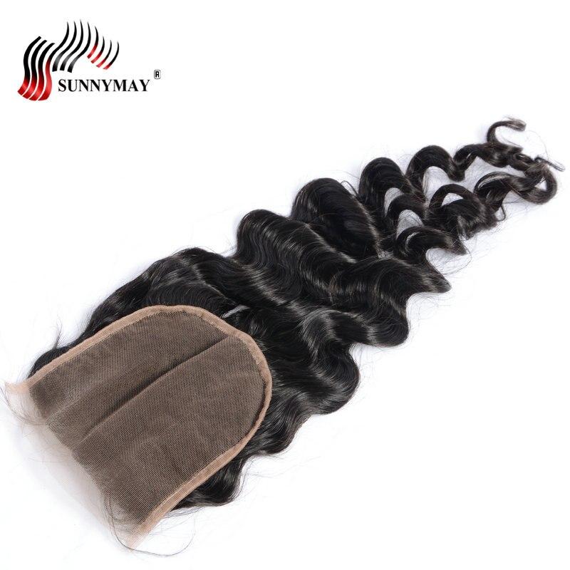 Brazilian Virgin Hair Loose Wave 5x5 Lace Closure Bleached Knots With Baby Hair Human Hair Closure