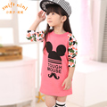Children's clothing female child o-neck top 2017 spring long-sleeve basic shirt child cartoon medium-long t-shirt