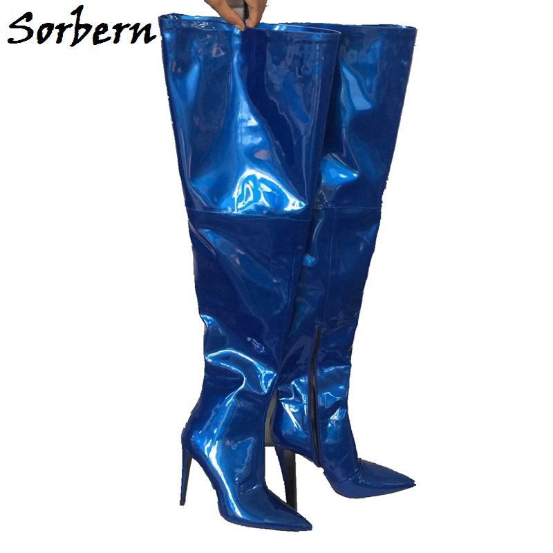 Sorbern Blue Over Knee Boots High Heels Winter Women Shoes Designer Custom Made Color Fashion Boots For Ladies Zipper Size 10