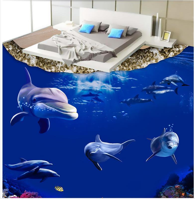 Custom Photo Floor Wallpaper 3D Stereoscopic 3D Sea World Dolphin 3D Mural PVC Wallpaper Self-adhesion Floor Wallpaer custom photo waterproof floor wallpaper sea ice to crack the bathroom 3d mural pvc wallpaper self adhesion floor wallpaer