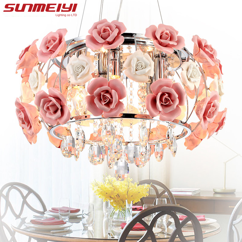 2017 New Arrival LED Crystal Ceiling Lights lustres de sala Beautiful Rose Style For Bedroom Dining