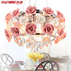 2015 New Arrival LED Crystal Ceiling Lights Lustres De Sala Beautiful Rose Style For Bedroom Dining