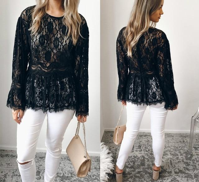 476346b3c7b Fashion Women Lady Tops Blouses Summer Loose Casual Chiffon Long Sleeve  Lace Shirt Tops Blouse