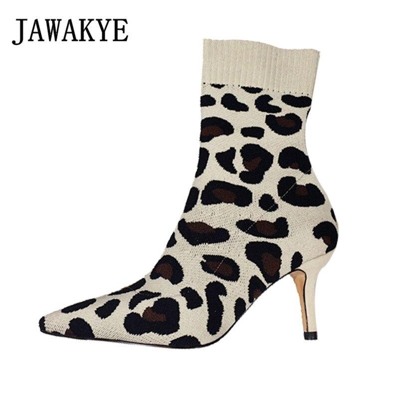 New Arrival Leopard dziania kostki buty damskie szpiczasty nosek Super buty na cienkich wysokich obcasach szpilki Stretch krótkie buty zapatos mujer w Buty do kostki od Buty na  Grupa 1