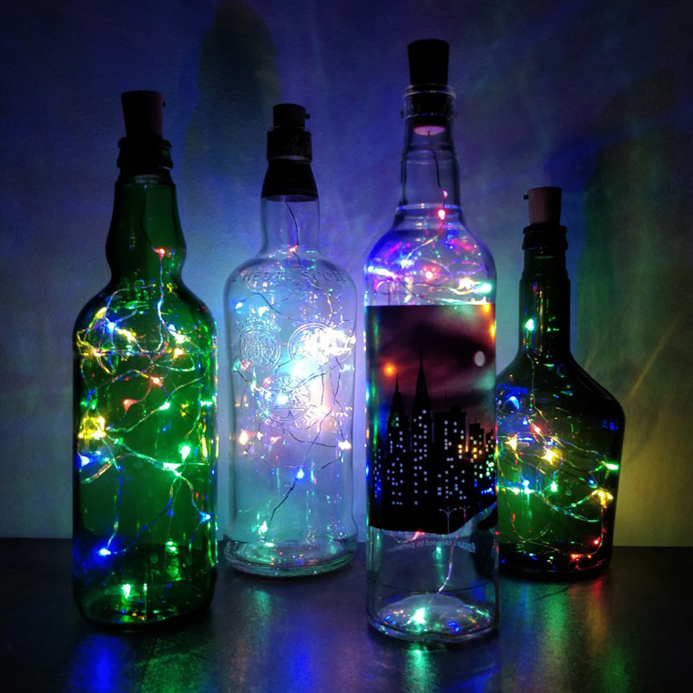 Wine Bottle LightC 1M 2M Cork Shape Battery Copper Wire Led String Lights For Bottle DIY Christmas Wedding Holiday Ramadan