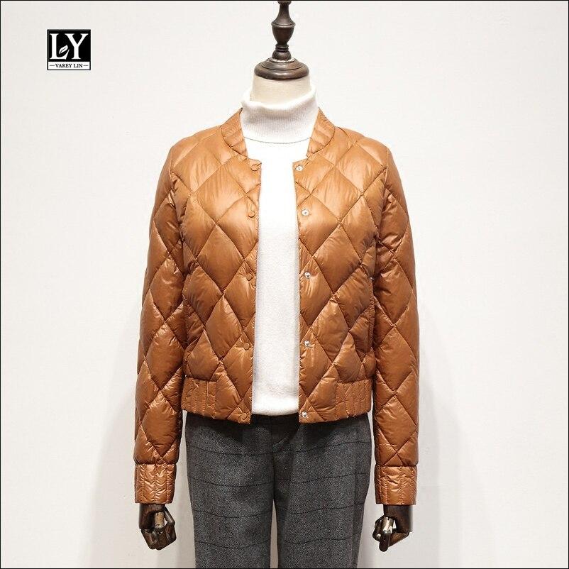 Ly Varey Lin Winter Warm Ultra Light White Duck   Down   Jacket Women Short   Down     Coats   Plus Size 3xl Slim O Neck Female Outerwear