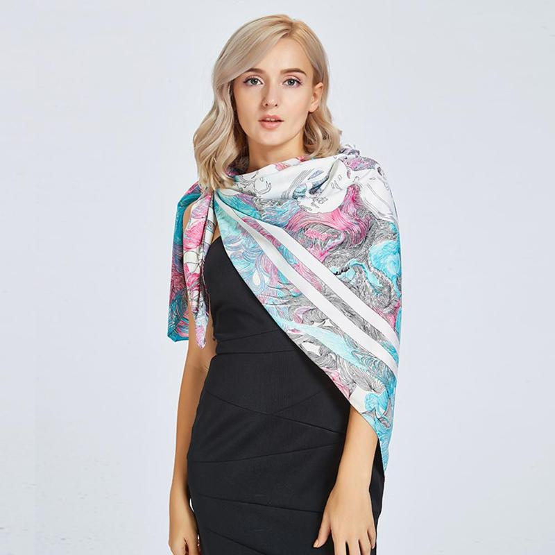 Vintage Women Shawl Geometric Print Square Scarf Neck Tie Head Scarves Wrap Band Casual Decoration Gift Autumn Elegant Shawl