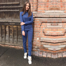 2019 O-neck Full Drawstring Rushed Sweatshirts Set Spring New Women's Fashion Suit Solid Color Sweats + Trousers Two-piece